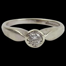 9ct White Gold 0.1 Carat Diamond Solitaire Ring UK Size L US 5 ½