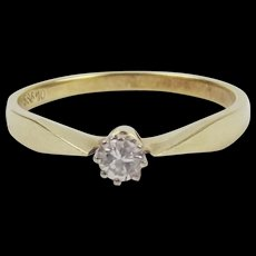 14ct Yellow Gold 0.1 Carat Diamond Solitaire Ring UK Size N US 6 ½