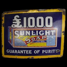 Original Enamelled Sunlight Soap Advertising Sign