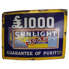 Original Enamelled Sunlight Soap Advertising Sign
