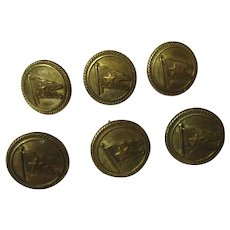 Set Of Six 1 Inch Diameter White Star Line Buttons