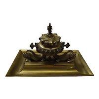 Victorian Gilt Brass British Royal Navy Inkwell