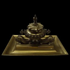 Victorian Gilt Brass British Royal Navy Inkwell