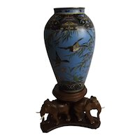 Sky Blue Cloisonne Vase Of Birds And Bamboo Stems On Stand