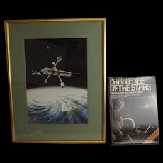 1976 David Hardy - Space Station And Shuttle In Flight  Gouache Artwork, Book & Letters