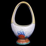 Handpainted Clarice Cliff Large Basket Vase Gayday Design Circa 1930