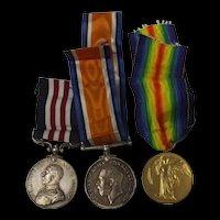 WW1 Military Medal Trio To E. Gibberd RFA