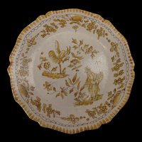 French Faience Plate c1800 Bird & Flowers
