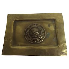 WW1 German Rectangular Trench Art Ashtray With Buckle Centre
