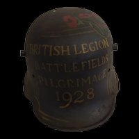 WWI Imperial German M16 Stahlhelm Helmet With Later Hand Painted Detail For the British Legion Pilgrimage 1928