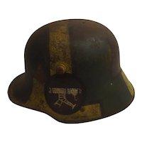 WWI Imperial German M16 Machine Gunners Stahlhelm Helmet With Painted Camouflage