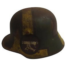 WWI Imperial German M16 Machine Gunners Stahlhelm Helmet With Painted Camouflage
