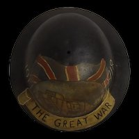 WWI British Raw Edge Brodie Helmet With Post War Painting Of A Tank To Commemorate The Great War