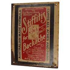 Vintage Original Australian Stiffitis For Backache Small Tin Advertising Sign