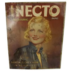 Vintage Original Inecto Hair Colouring Tin Advertising Sign