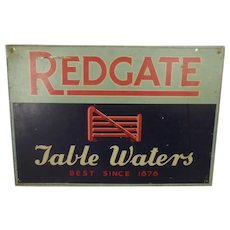 Vintage Original Redgate Table Waters Tin Advertising Sign