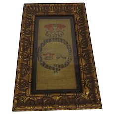 Framed Embroided Silk Panel Of The British Royal Crest By Repute From William IV's Carriage