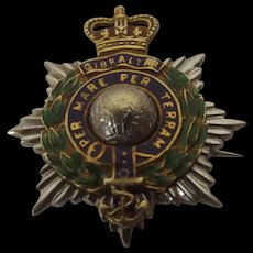 1906 9Ct Gold British Royal Marines Enameled Sweetheart Badge