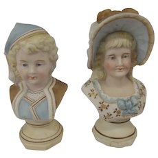 c1900 Pair Of German Porcelain Busts