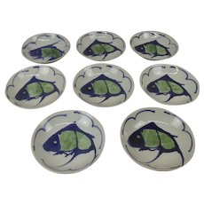 Set Of 8 Large Circa 1920 Chinese Koi Carp Bowls