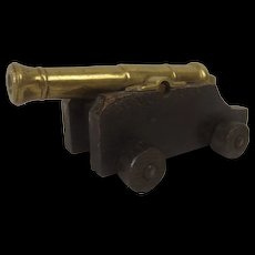 Victorian/Edwardian Bronze Miniature Signalling Cannon On Truck