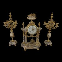 Circa 1860 Eight Day French Ormolu And Marble Clock And Garniture Set By A. D. Mougin