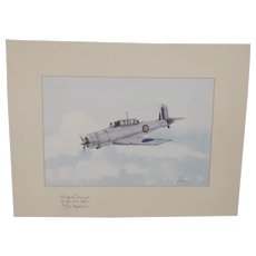 Blackburn Skua Acrylic Painting (Signed By WW2 Pilot) By Robert Bearman