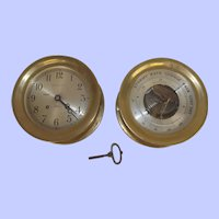 c1942 Chelsea Ships Bell Clock & Barometer Pair Retailed By Abercrombie & Fitch