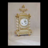 c1880 Striking French Ormolu And White Marble Mantle Clock