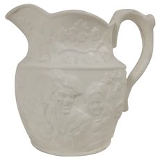 Staffordshire White Relief Molded Jug c1850