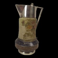 Victorian Aesthetic Floral Jug With Silver Plated Mounts