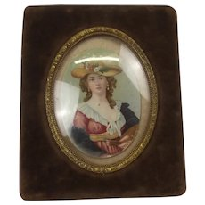 19th Century Oval Portrait Miniature Of Madame Vigee le Brun, Mounted And Framed
