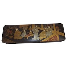 19th Century Chinese Black Lacquered Box And Cover Depicting Figures In A Palace Setting