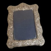 Victorian Style Silver Easel Photo Frame Embossed With Foliage And Flowers, London 1990