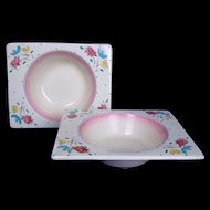 Clarice Cliff Royal Staffordshire Pink Bon Jour Biarritz Set of Two Bowls c.1935