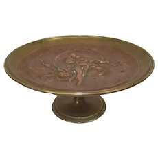 19th Century Continental Bronze And Copper Tazza, Embossed With Putti And A Nude Maiden