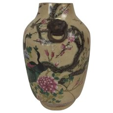 Qing 19th Century Chinese Porcelain Crackle Glaze Vase With Ring Turned Handles In The Famille Rose Palette