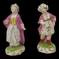 Pair Of 18th Century Derby Porcelain Figures Of An Ottoman Turkish Couple