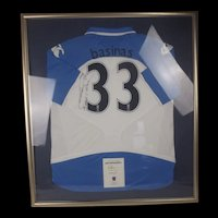 Framed Portsmouth Football Club Shirt Player 33 Signed By Angelos Basinas