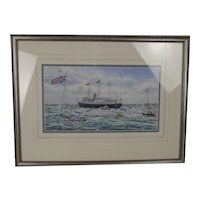 Colin Baxter Watercolour HMY Britania At Spithead D-Day 50th Anniversary Fleet Review