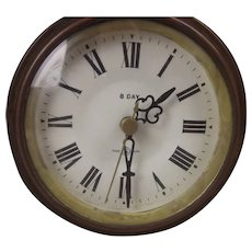 Edwardian Inlaid Mahogany Mantel Clock With Replaced Quartz Movement