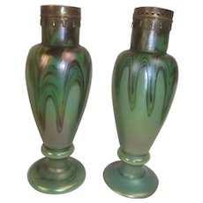 Pair Of Early 20th Century Rindskopf Vases With Marvered Pulled Loop Iridescent Decoration Below Pierced Metal Mounts