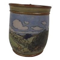 Royal Doulton Stoneware Tobacco Jar Hand Painted With Landscape Numbered 8468