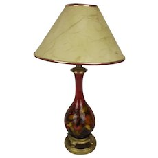 Moorcroft Flambé Orchid Table Lamp With Gilt Mounts