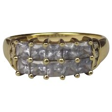 9ct Yellow Gold Topaz & Diamond Cluster Ring UK Size N US 6 ½