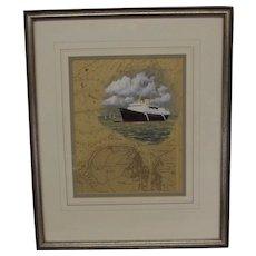 Fine Watercolour Of HMY Britannia Over Chartwork By Colin Baxter