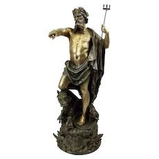 Large Gilt Spelter Statue of Neptune By Gustave Trouillard