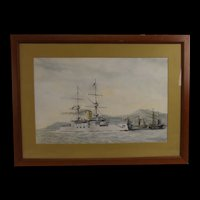 Great Watercolour Of The Royal Navy HMS Majestic Battleship On The China Station