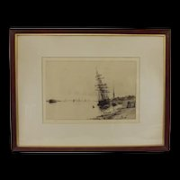 W.L. Wyllie Etching Of A Stranded Derelict Ship In An Estuary