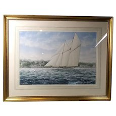 Colin M. Baxter: The Schooner 'Westward' Racing Past The Royal Yacht, Cowes IOW